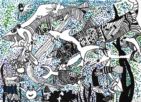 中班儿童画海底世界展示
